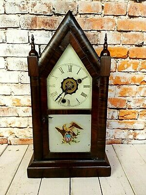19th Century American Steeple Mantle Clock With Painted Panel Of (BERTH OF A NAT • 85£