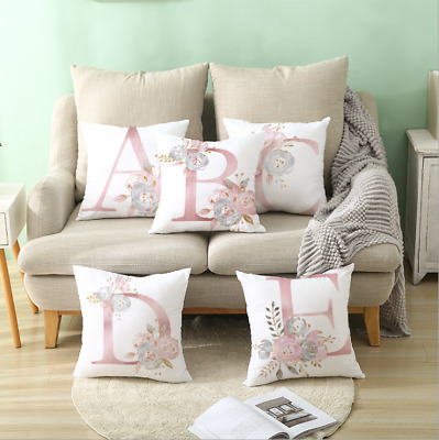 Pink Alphabet Letter Polyester Cushion Cover Pillow Case Waist Throw  Sofa Decor • 2.85£