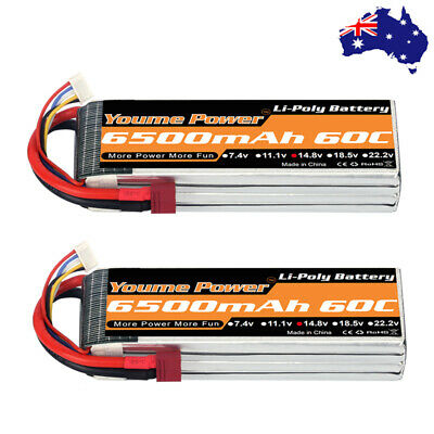 AU124.32 • Buy 2pcs Youme 4S 6500mAh 14.8V LiPo Battery 60C Dean For RC Helicopter Drone Car AU