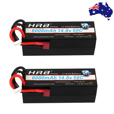 AU153.23 • Buy 2x HRB Lipo Battery 4S 6000mAh 14.8V 50C Hardcase For RC Car Truck Losi Drone AU