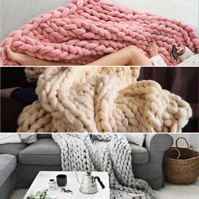 £22.95 • Buy Winter Soft Chunky Cable Knit Hand Woven Sofa Bed Chair Blanket Throw