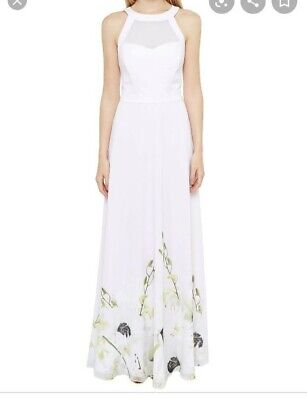 TED BAKER Light PINK MAXI FULL LENGTH FLORAL DRESS SIZE 0 • 70£