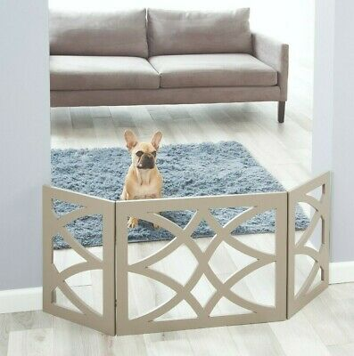£28.36 • Buy Safety Pet Gate For Dog Free-Standing Folding Decorative Wood Fence Barrier Gray