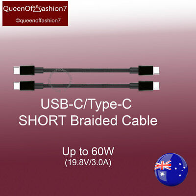 AU12 • Buy 2x Short 22CM Type-C To Type-C /USB C Braided Cable Up To 60W
