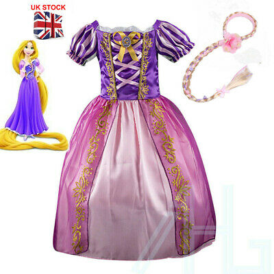 Girls Rapunzel Fancy Dress Wig Costume Kids Princess Cosplay Prom Party Outfits • 15.99£