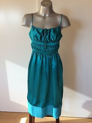 AU9.99 • Buy Dress It Green Satin Evening Party Bridesmaid Sun Dress , Size S New With Tags