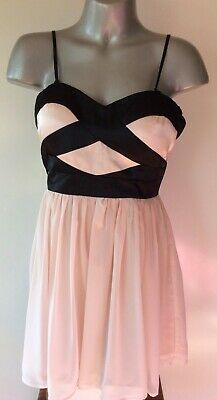AU9.99 • Buy Free Fusion Cream/black Chiffon Evening Party Prom Dress-new With Tag, Was $49