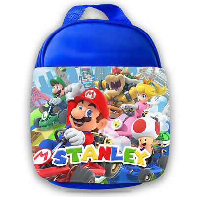 Personalised Mario Kids Blue Lunch Bag Any Name Childrens School Snack Box 6 • 14.95£