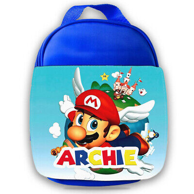 Personalised Mario Kids Blue Lunch Bag Any Name Childrens School Snack Box 30 • 14.95£