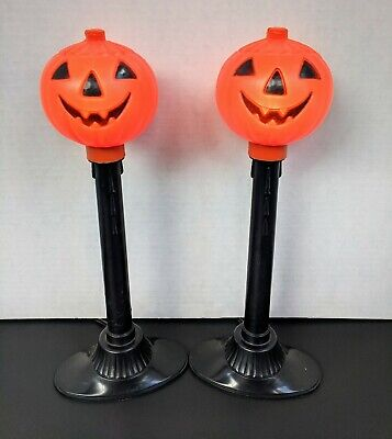 $14.50 • Buy 2 Vintage Plastic Blow Mold Halloween Pumpkin Electric Lighted Candles