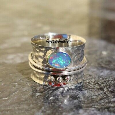 Ethiopian Opal Ring, Solid 925 Sterling Silver Spinner Ring, Opal Spinner Ring, • 10.92£