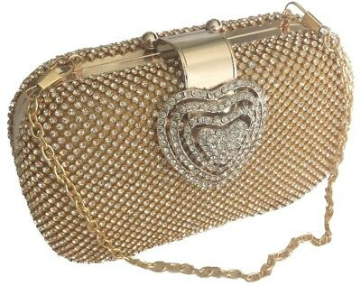 £16.99 • Buy Heart Clasp Gold Diamante Crystal Diamond Evening Bag Clutch Purse Party Prom