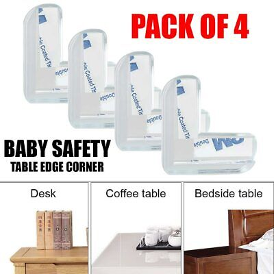 £2.79 • Buy 4x Rubber Furniture Corner Edge Table Cushion Guard Protector Baby Safety Clear