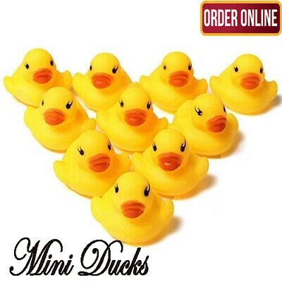 10 X Toy Baby Duck Rubber Yellow Whistle Ducks Fun Kids Bath Squeaky New Balloon • 2.99£