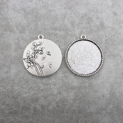 £2.99 • Buy 5/10 X Antique Silver 35mm Round Cameo Cabochon Leaf Pendant Setting Blank Trays