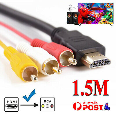 AU4.99 • Buy HDMI To 3 RCA Red White Yellow Cable Cord AV Audio Video Lead Universal