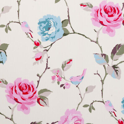 Clarke And Clarke Agatha Rose Aqua And Pink PVC WIPE CLEAN Tablecloth Oilcloth • 13.99£