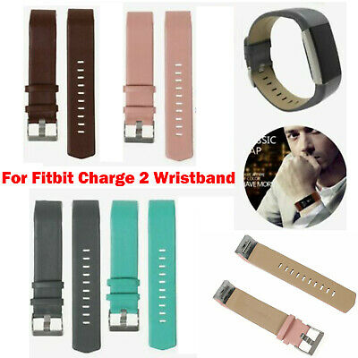 AU13.47 • Buy For Fitbit Charge 2 Bracelet Genuine Leather Replacement Wrist Band Strap CUS