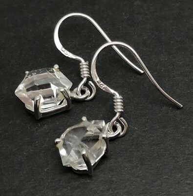 Herkimer Diamond Drop Earrings, Solid Sterling Silver, New, Claw Set. Quartz. • 49.99£