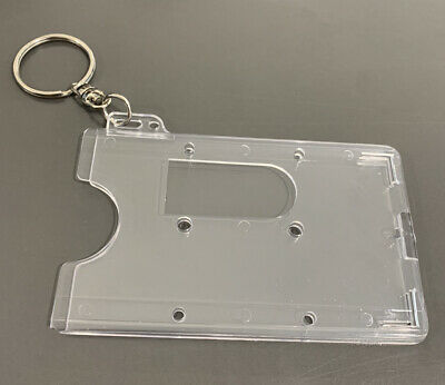 Clear Hard Plastic ID/Card/Badge/Pass/Oyster Holder With Keyring • 1.89£