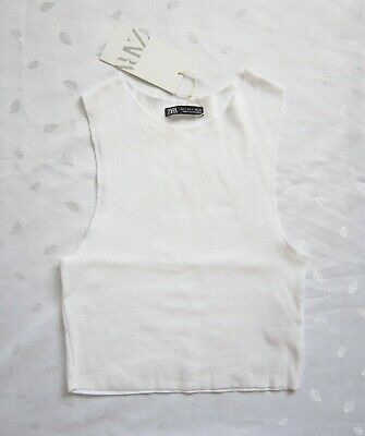 $9.50 • Buy NWT ZARA Crew Neck Sleeveless Ribbed Crop Top In White Size S / Small