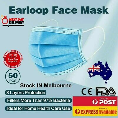 AU12.51 • Buy Face Mask Mouth Masks Medical Protective 3 Layer Anti Bacterial Filter 50Pcs AU