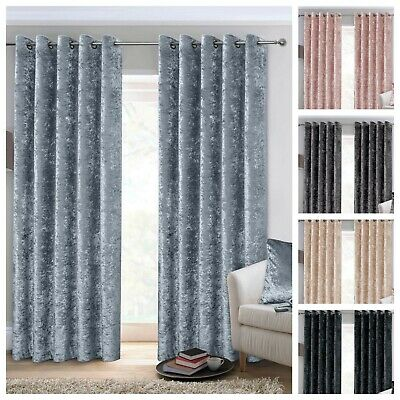 £30.99 • Buy Crushed Velvet Curtains Luxury Thick Pair Ready Made Fully Lined Eyelet Ring Top