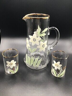 $42 • Buy Vintage Glass Pitcher With 2 Glasses Gold Rim And Hand Painted Easter Lillys