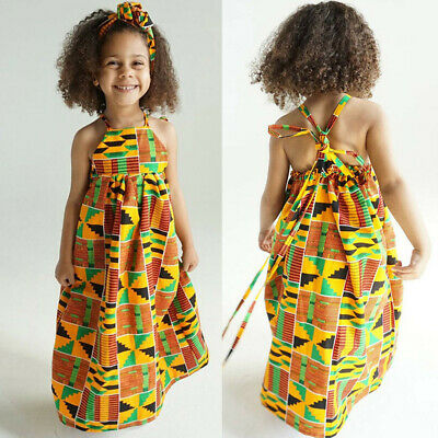 Toddler Baby Girls African Print Off-Shoulder Sleeveless Dress Skirts+Hairband • 8.59£