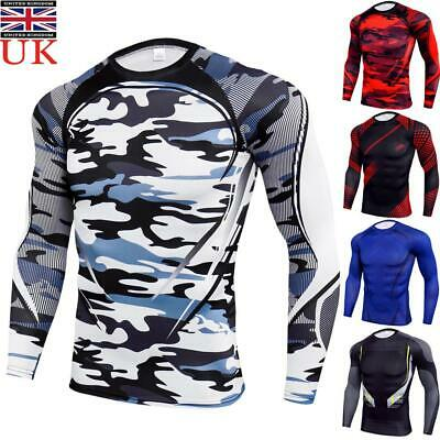 Mens Compression Base Layer Top Long Sleeve Body Fitness Gym Sports Fit Shirt UK • 9.49£