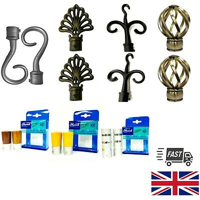 £6.99 • Buy Metal Wooden Curtain Pole Pack Of 2 Finials / Ends For 16 19 35mm Diameter Poles