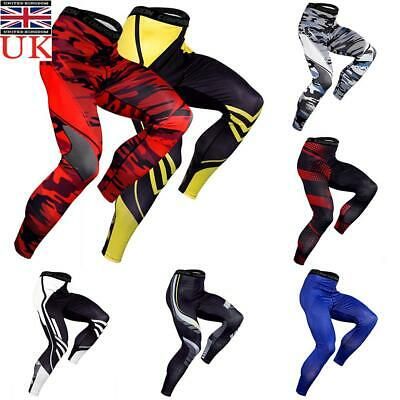Mens Compression Base Layer Leggings Running Sport Gym Pants Stretch Trousers UK • 9.09£