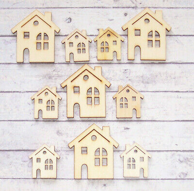 10 New Natural Wooden House Shape Card Topper Craft Decoration 4 Large 6 Small • 1.99£