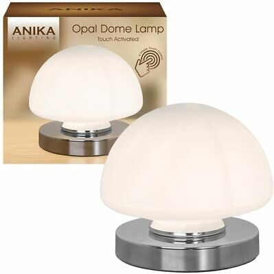 Anika Touch Activated Opal Frosted Glass Dome Bedside Table Lamp Deco Style • 24.95£