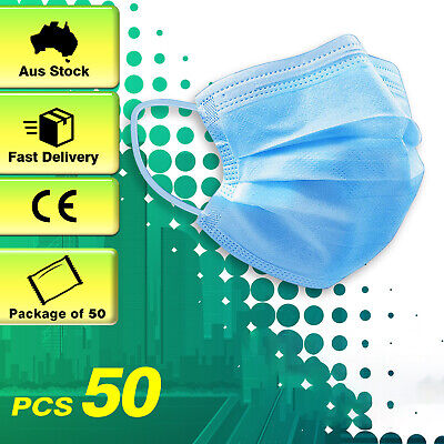 AU5.99 • Buy 50Pcs General Daily Protective Face Mask Mouth Masks Filter 3 Layer Meltblown AU