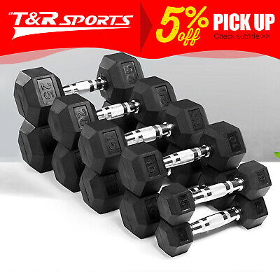 AU189.99 • Buy 5-60lbs Hex Dumbell Rubber Coat Iron Dumbells Home Gym Weight Training Workout