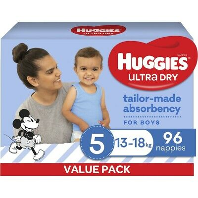 AU40 • Buy Huggies Ultra Dry Nappies Boys Size 5 Walker (13 - 18kg) - 96 Pack