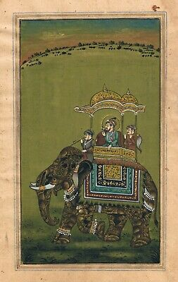 $299.99 • Buy Hand Painted Indian Miniature Painting Mughal Maharaja King Riding On Elephant