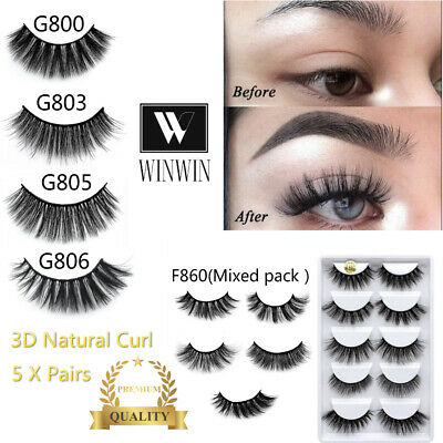AU7.95 • Buy 3D Mink Natural Thick False 5 Pairs Fake Eyelashes Handmade Makeup Extension