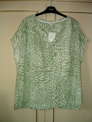 £7.70 • Buy Clearance *next* Cap Sleeve Animal Print Top-green Mix-size 16r-new