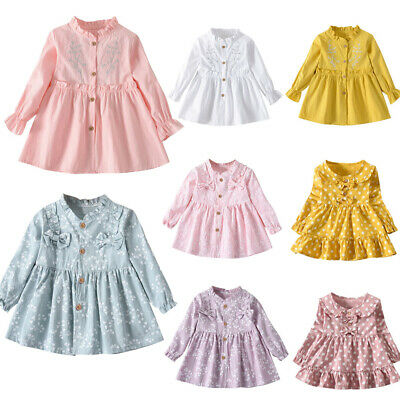 Toddler Baby Girl Skirt Long Sleeve Ruched Floral&Polka Dot Dress Skirt Clothes • 8.49£