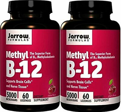 Jarrow Formulas Methylcobalamin Methyl B12 5000mcg CHERRY 120 Lozenges 2 Bottles • 55.58£