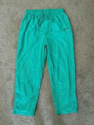 Vintage 80s Adidas Green Tracksuit Trackie Shell Suit Bottoms Pants - Size L • 16.95£