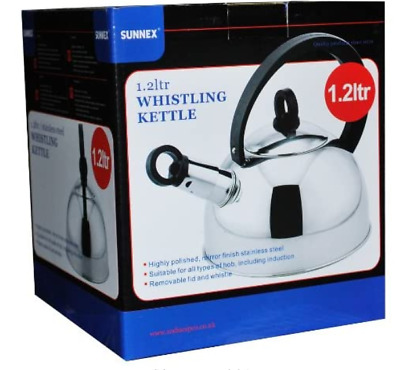 Sunnex Whistling Kettle 1.2L Stainless Steel Polished Stove Top Gas Electric • 9.99£