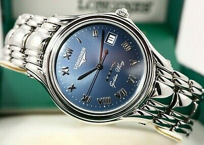 $ CDN670 • Buy LONGINES GOLDEN WING Blue Dial Ref. L3.606.4 Cal. L.263.2 Swiss Watch & Box