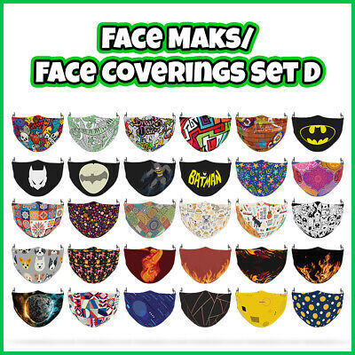 COLOURED Mixed Pattern Face Covering Mask ADULTS MASKS Set D • 7.99£