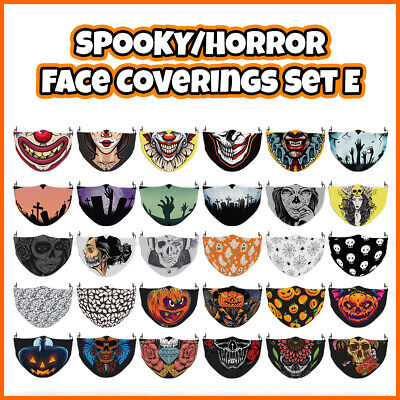 £7.99 • Buy COLOURED Horror Pattern Face Mask Covering ADULTS MASKS Set E