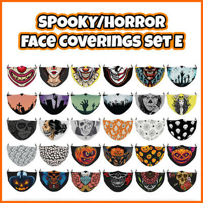 COLOURED Horror Pattern Face Mask Covering ADULTS MASKS Set E • 7.99£