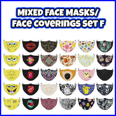 COLOURED Mixed Pattern Face Mask Covering ADULTS MASKS Set F • 7.99£
