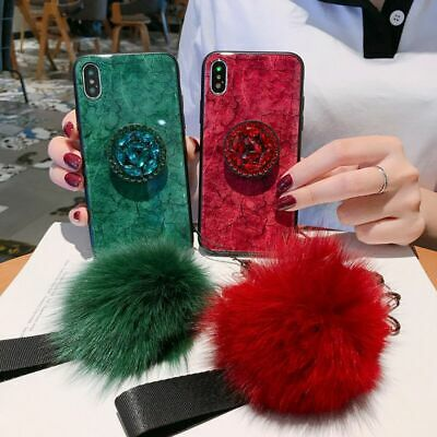 AU7.78 • Buy Case For IPhone 11 Pro Max X 8 7 6 5 Fashion Girls Fur Ball Tempered Glass Cover